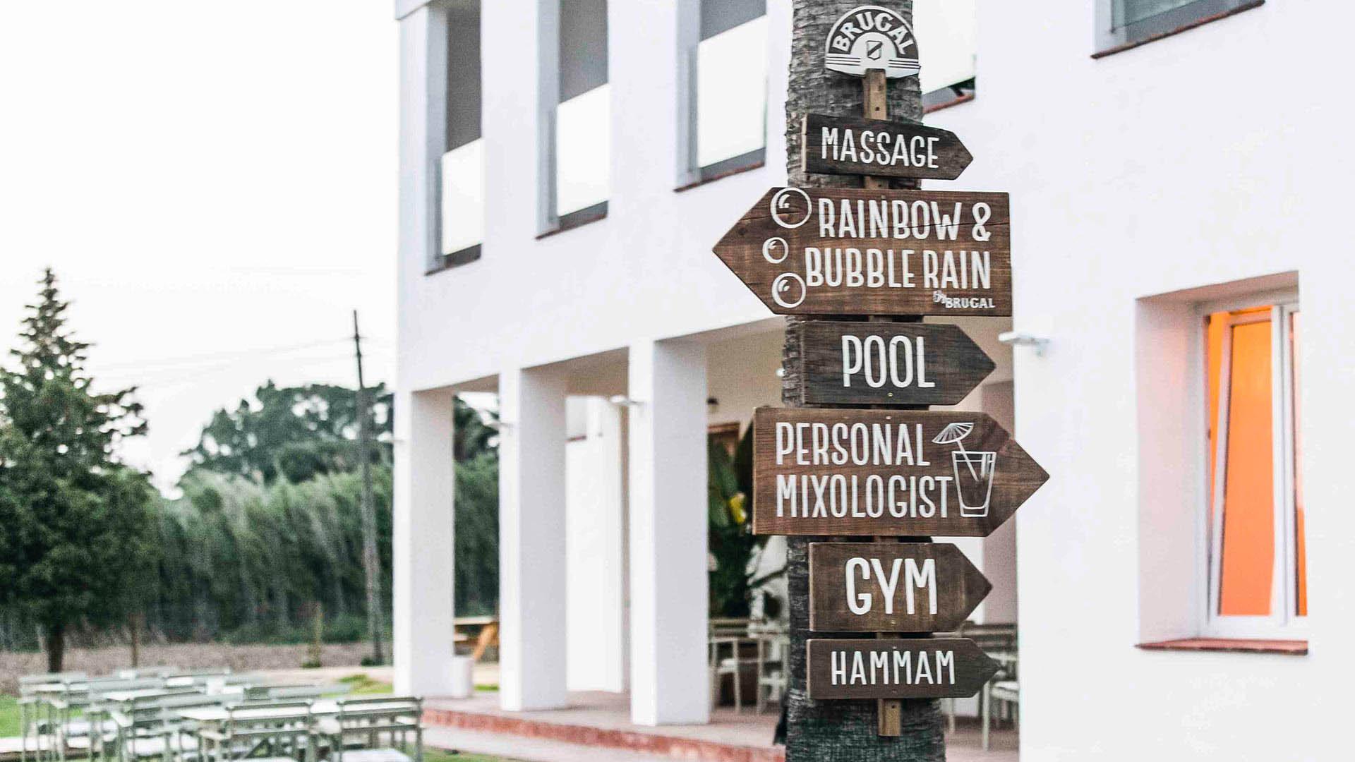 Ocean tarifa by brugal event wood signage design