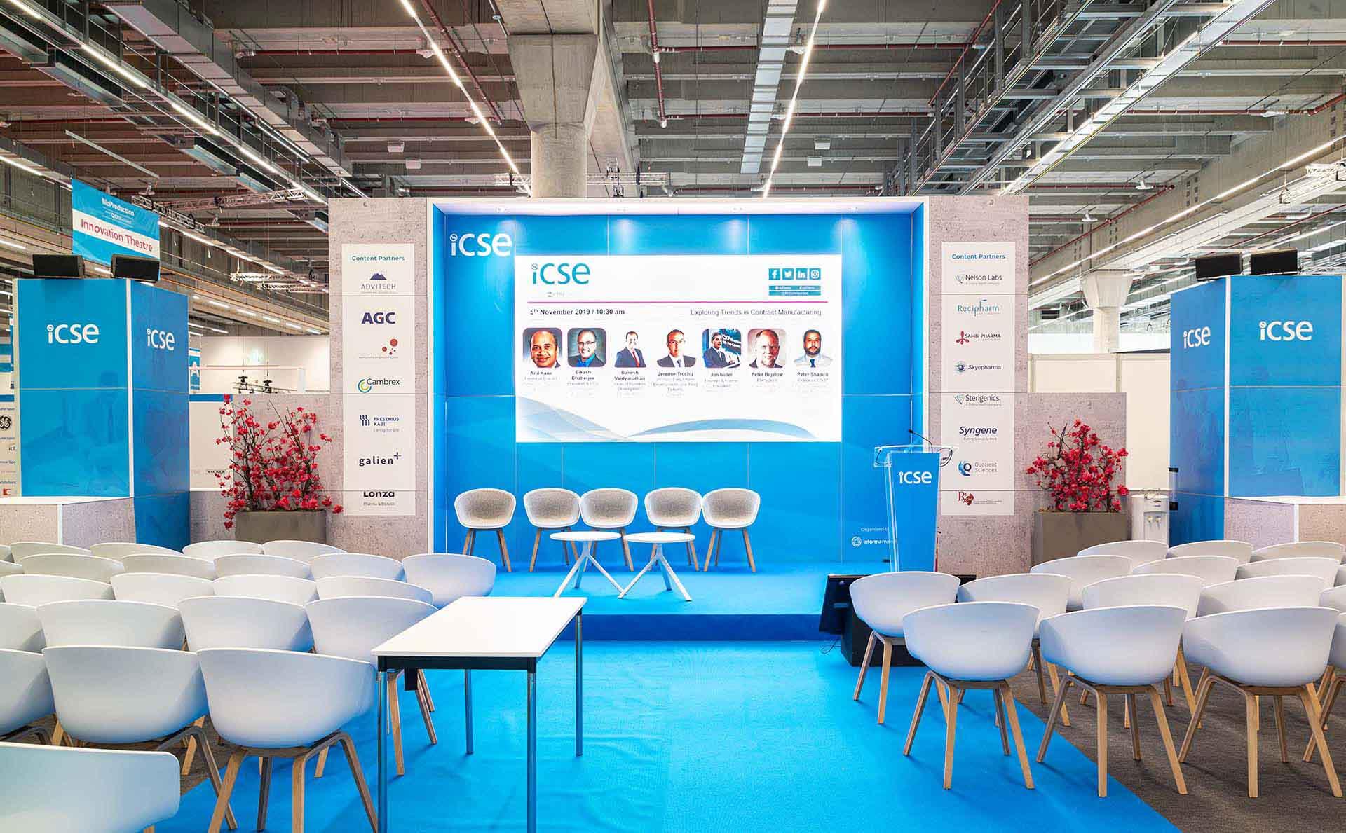 Feria CPHI diseño auditorio ICSE