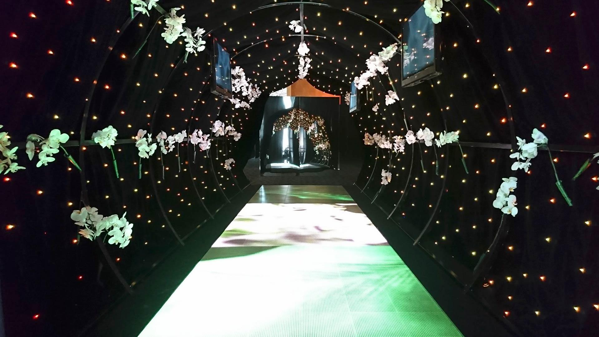 Evento presentación perfume chanel diseño tunel led