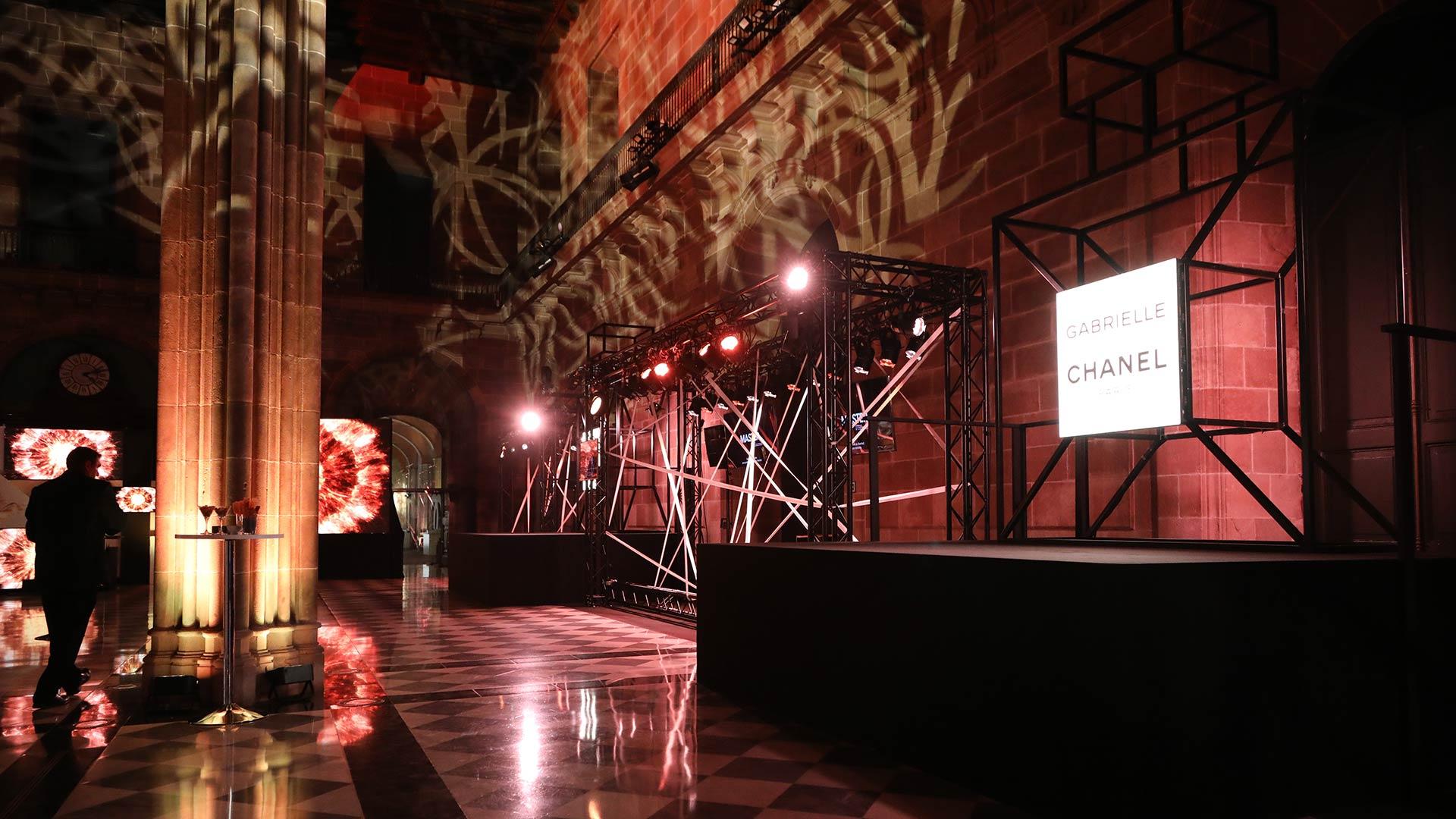 Chanel perfume presentation event hiring lighting