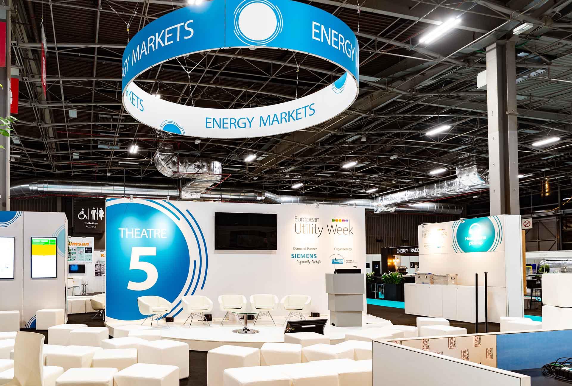 European Utility Week exhibition theatre 5 construction