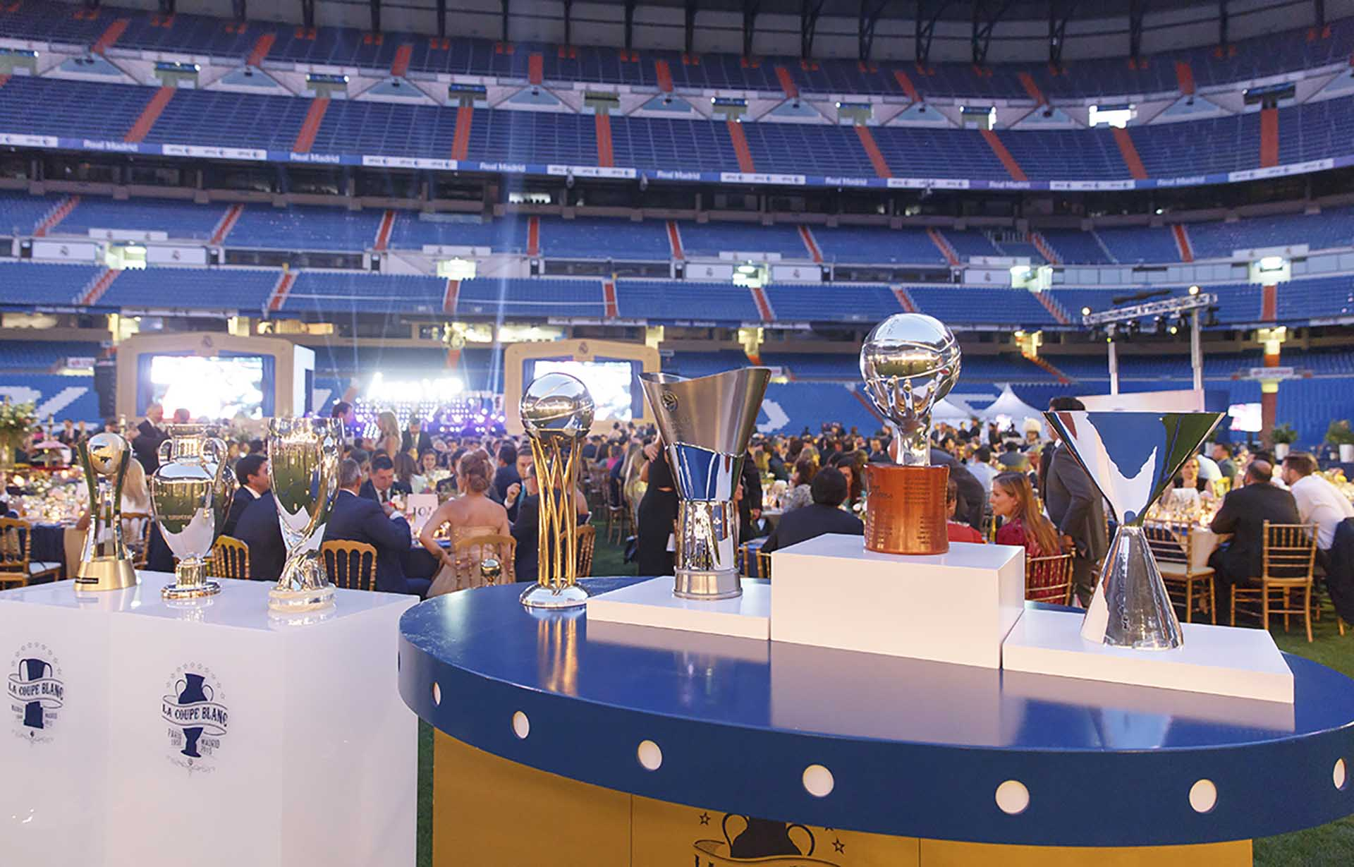 Annual event vip area Real Madrid. Catering area assembly