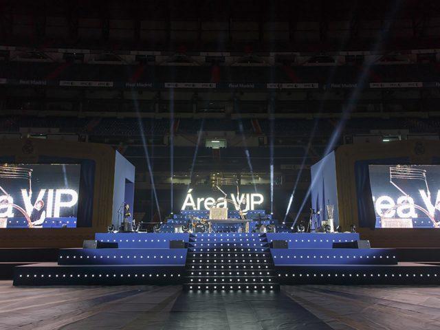 Evento anual área vip Real Madrid. Diseño y producción escenario