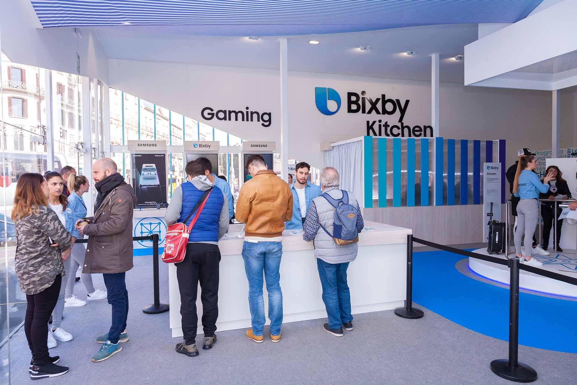 Samsung Bixby pop up. Reception area design