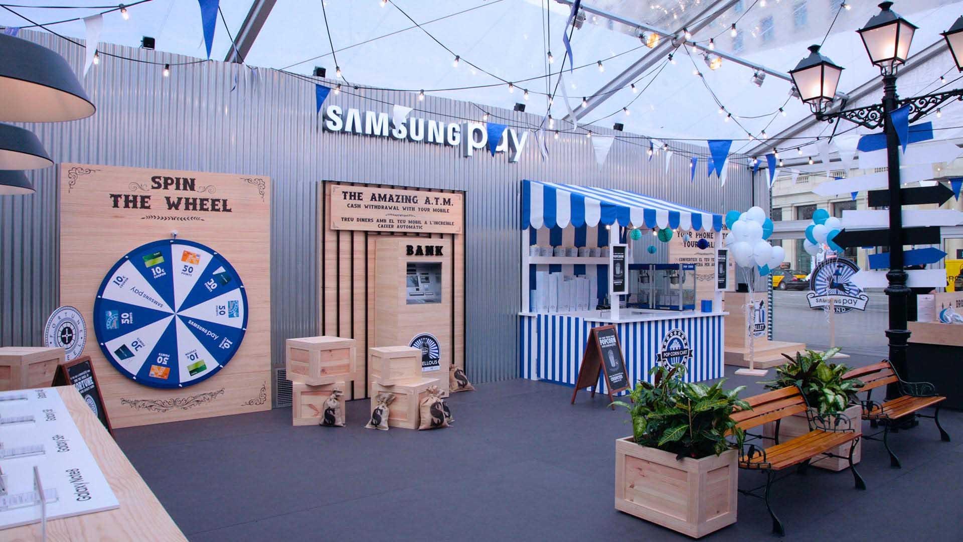 Pop up Samsung pay. Diseño interiorismo evento