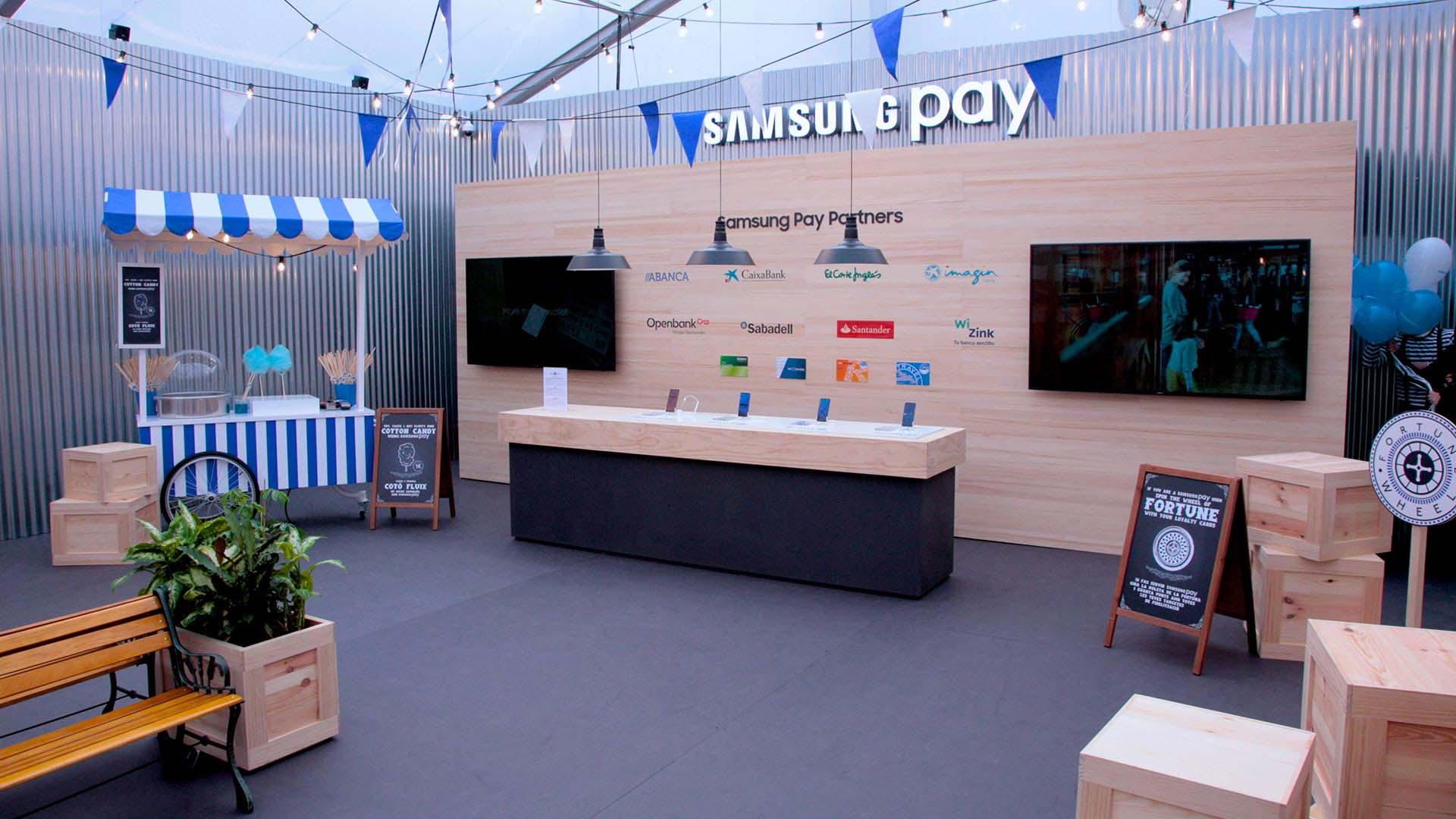 Pop up Samsung pay. Diseño decoración interior