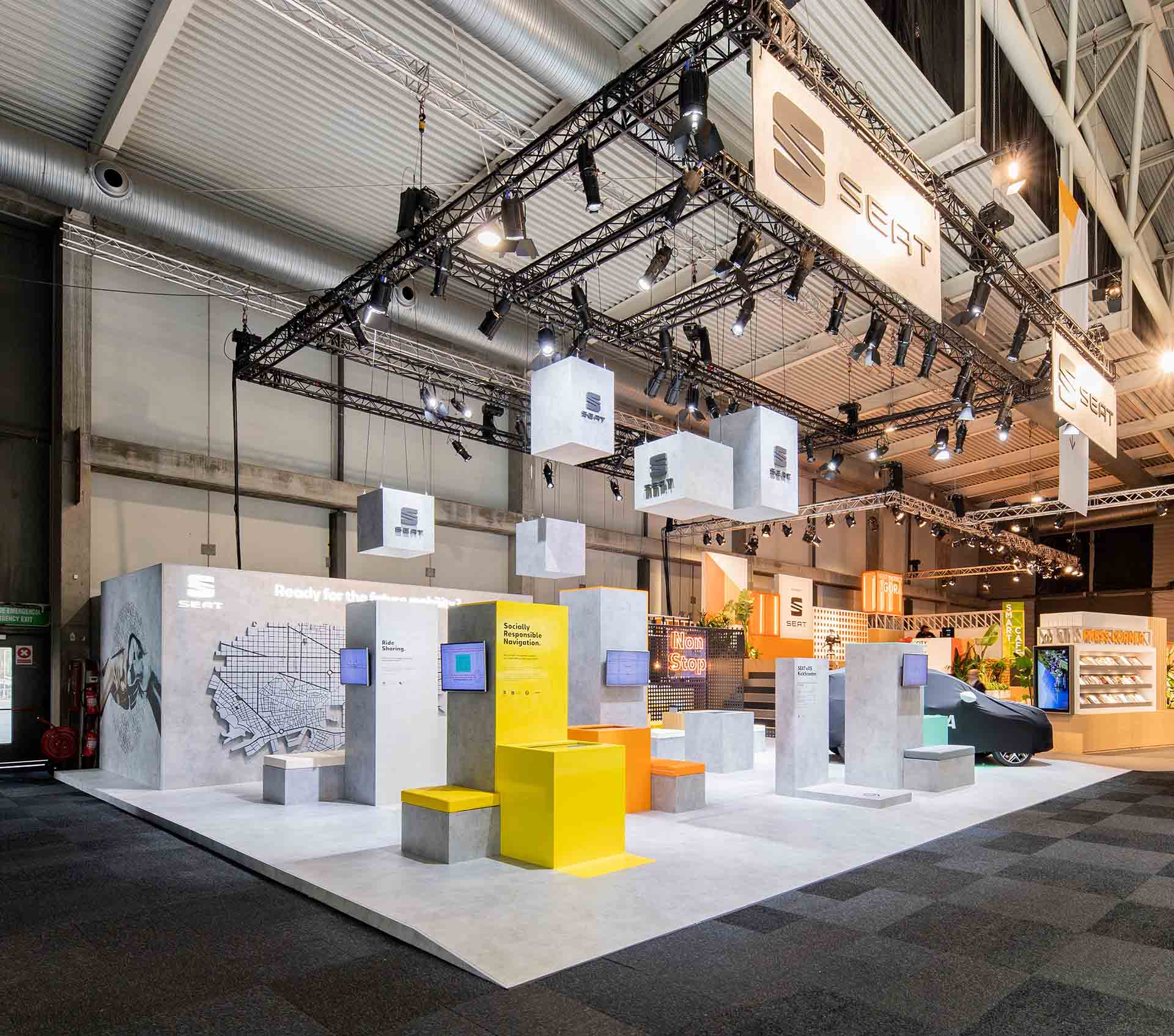 Seat smart city stand. Stand design and assembly